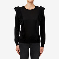 Boxy Frill Sweater  BLACK  hi-res