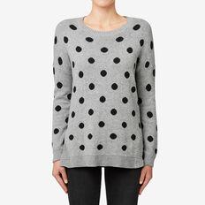 Spot Curve Hem Sweater  MID GREY MARLE  hi-res