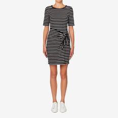Knot Front Wrap Dress  BLACK/WHITE STRIPE  hi-res