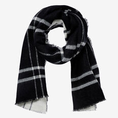 Reversible Check Scarf  BLACK/WHITE  hi-res