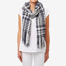Textured Check Scarf  NAVY  hi-res