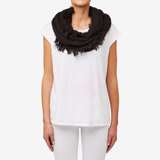 Basket Knit Fringe Snood  BLACK  hi-res