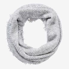 Basket Knit Fringe Snood  LIGHT GREY MARLE  hi-res