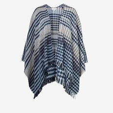 Tonal Weave Poncho  NAVY  hi-res