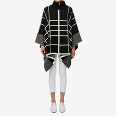 Zip Check Poncho  BLACK/WHITE  hi-res