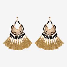 Statement Tassel Earrings  GOLD/BLACK  hi-res