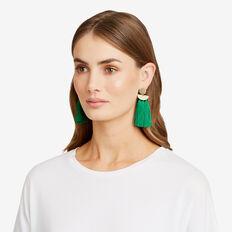 Bold Tassel Earrings  GOLD/ EMERALD  hi-res