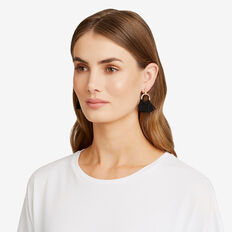 Circle Fringe Earring  GOLD/BLACK  hi-res