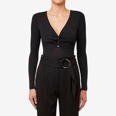 Knot Front Bodysuit  BLACK  hi-res