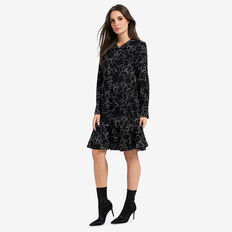 Floral Outline Dress  BLACK FLORAL  hi-res