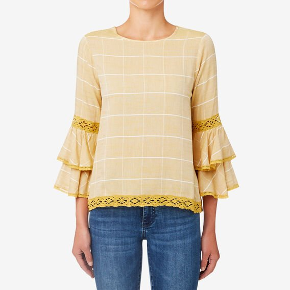 Double Frill Check Top  HONEY YELLOW  hi-res