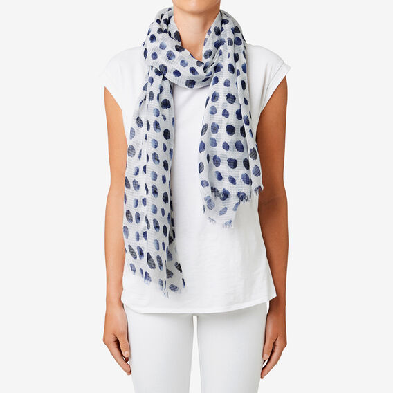 Painted Polka Dot Scarf  WHITE/ INK  hi-res