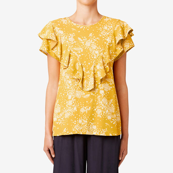 Frill Detail Top  HONEY FLORAL  hi-res