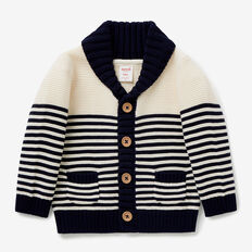 Stripe Knit Shawl Cardigan  VINTAGE WHITE  hi-res