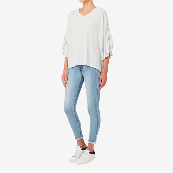 Slouchy Hi Lo Top  LIGHT GREY MARLE  hi-res