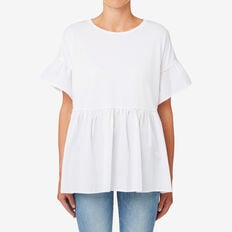 Oversized Frill Sleeve Tee  WHISPER WHITE  hi-res