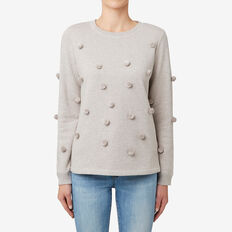 Pom Pom Sweater  TAUPE MARLE  hi-res