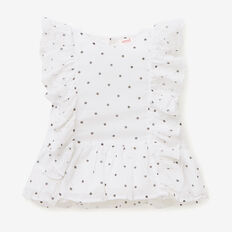 Spot Embroidered Top  WHITE  hi-res