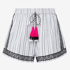 Embroidered Short  BLACK STRIPE  hi-res