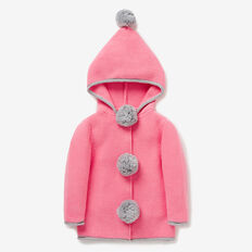Hooded Pom Pom Cardigan  BUBBLEGUM  hi-res