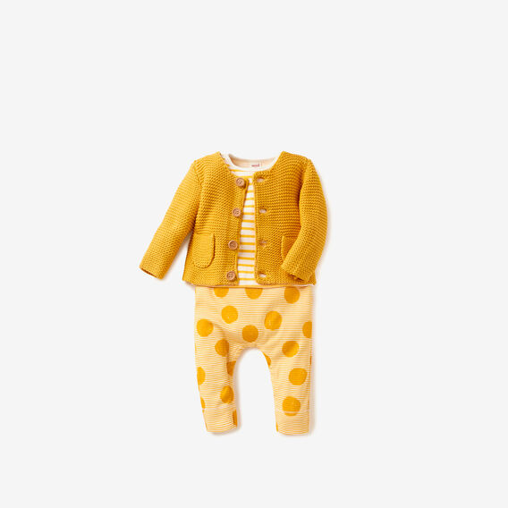 Knit Pockets Cardigan  MUSTARD  hi-res