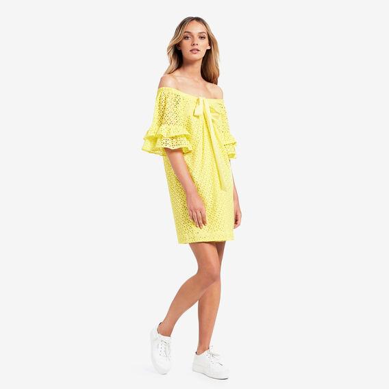 Halter Neck Broderie Dress  SUN YELLOW  hi-res