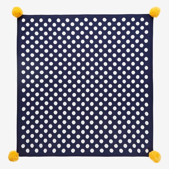 Spot Pompom Knit Blanket  NAVY  hi-res