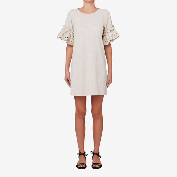 Embroidered Sleeve Dress  TEXTURED NATURAL  hi-res