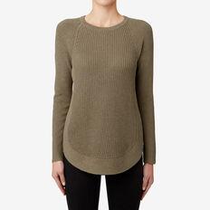 Curve Hem Zip Sweater  MILITARY OLIVE MARLE  hi-res