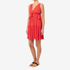 V Neck Ruffle Dress  CRIMSON  hi-res