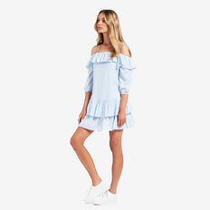 Off Shoulder Foil Dress  SPRING BLUE  hi-res