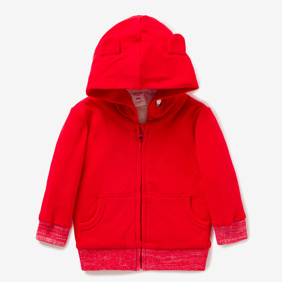 Sherpa-Lined Zip Hoodie  BRICK RED  hi-res