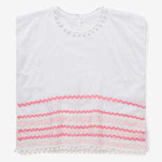 Ric Rac Ribbon Poncho  WHITE  hi-res