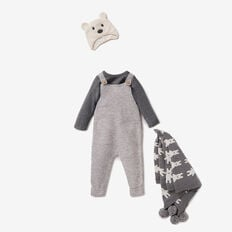 Speckle Knit Overalls  CHARCOAL  hi-res