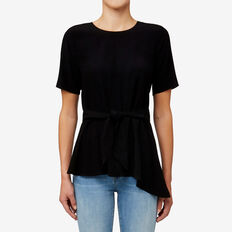 Tie Front Asymmetrical Top  BLACK  hi-res