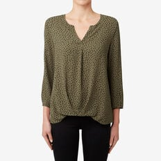 V-Neck Gathered Hem Top  MILITARY OLIVE  hi-res