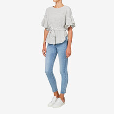 Tie Frill Sleeve Top  BLACK/CANVAS STRIPE  hi-res