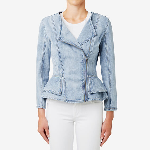 Asymmetric Peplum Jacket  BLEACH BACK DENIM  hi-res