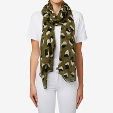 Abstract Ocelot Scarf  MILITARY OLIVE/BLACK  hi-res