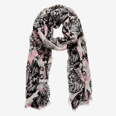 Butterfly Print Scarf  GREY/ BLUSH  hi-res
