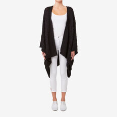 Cable Knit Poncho  BLACK  hi-res