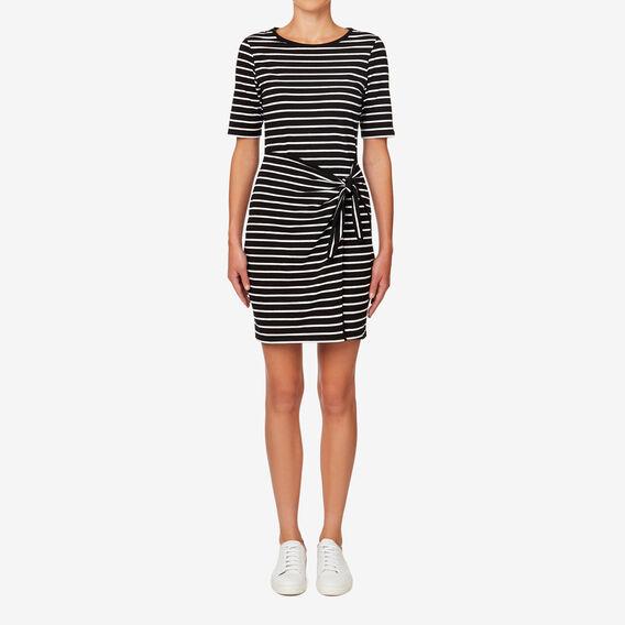 Knot Front Wrap Dress  BLACK/WHITE STRIPE  hi-res
