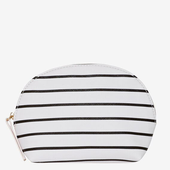 Half Moon Make Up Bag  WHITE STRIPE  hi-res
