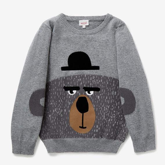 Bear Intarsia Sweater  STONE GREY MARLE  hi-res