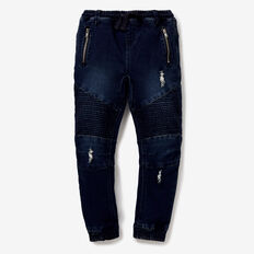 Biker Denim Terry Pant  DARK WASH  hi-res