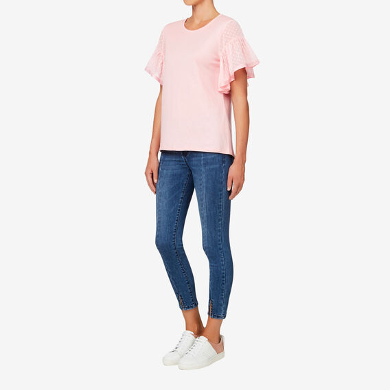 Frill Sleeve Dobby Top  BLOSSOM PINK  hi-res