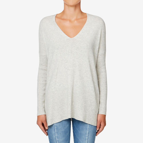 V-Neck Slouchy Sweater  LIGHT GREY MARLE  hi-res