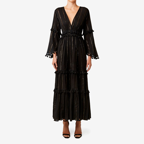 Tassel Trim Dress  BLACK  hi-res