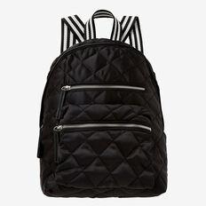 Quilted Satin Backpack  BLACK  hi-res