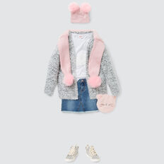 Fluffy Longline Cardigan  CLOUD  hi-res